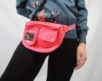 Vintage 80s 90s Hip Pocket Neon Pink Fanny Pack