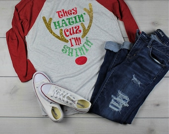 Merry Christmas Rudolph Red Nose Reindeer They See Me Hatin Shinin Baseball Tee Shirt Glitter Bling