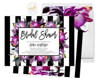 Bridal Shower Invitation, Pink Black Bridal Shower Invitation, Wedding Shower Invite, Bridal Shower Invite, Modern Bridal Shower Invitation