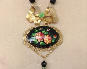 Russian painted brooch necklace