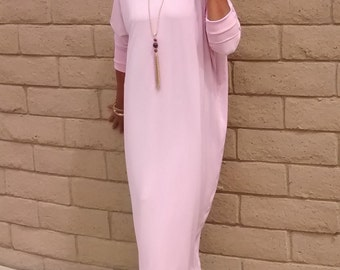 Soft Pink Jersey Maxi Dress / Tee Shirt Maxi Dress /  Loose Fitting Pull Over Knit Kaftan / Lounge / Resort -All Sizes / Colors