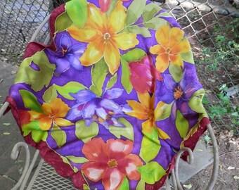 """36 """" Square Crepe de Chine Multicolor Floral  Scarf"""