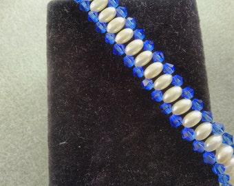 Pearl and Vivid Blue Crystal Bracelet
