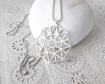 OCTAGON long necklace silver