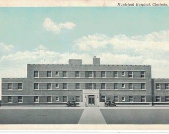 "Iowa, Vintage Postcard, ""Municipal Hospital, Clarinda, Iowa,""  est. 1930, #1253. Photo."