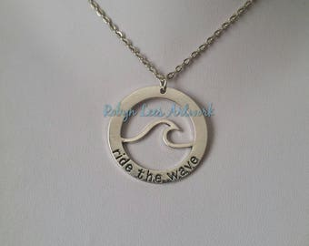 Large Silver Wave Outline Ocean Pendant Stamped Ride The Wave Necklace on Silver Chain or Black Faux Suede Cord. Surfer, Surfing, Nautical