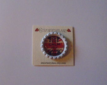 Bottlecap Needleminder- British Keep Calm and Carry On