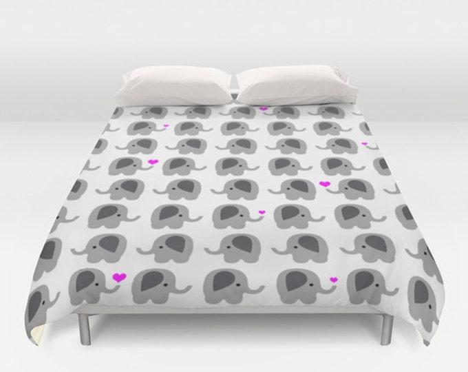 Elephant Art Duvet Cover - Nursery Art - Duvet Cover Only - Bed Spread - Bedroom Decor - Made to Order