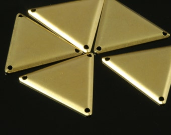 50 pcs 22x25 mm raw brass equilateral triangle tag 3 hole connector charms ,findings 745R-53