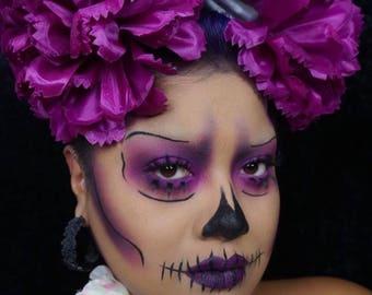 Violet Cross Bone Day of the Dead Flower Headband.