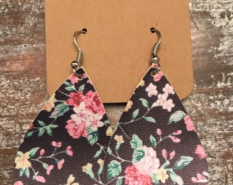 Black and Pink Floral Tear Drop