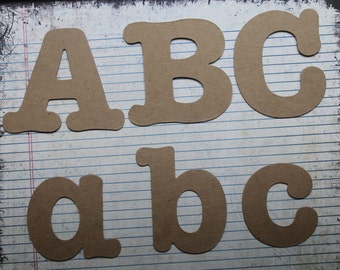 """3 1/2"""" Serif style uppercase,lowercase or numbers chipboard alphabet die cuts [26 or 52 pieces]"""