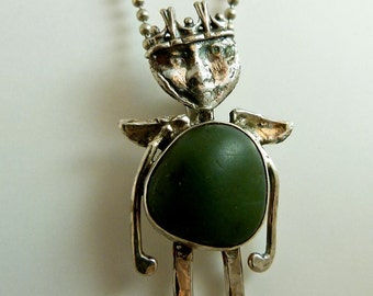 Angel Ima Rock - Re-purposed Sterling Silver, A Beach Rock, And PMC - Art Jewelry Pendant - 601