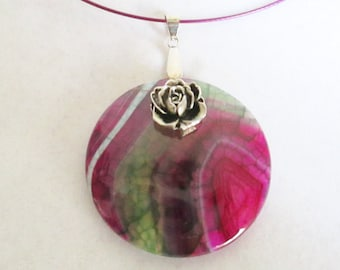 Onyx Fuchsia and Green Agate Pendant on Fuchsia Metal Wire Choker Necklace, Gemstone Agate Pendant,  Gift for Mom,  Pink Champagne Diva Gal