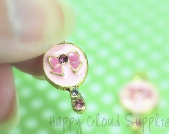 Sweet Pink and Gold Hand Mirror Enamel Charm with Rhinestones ...2pcs