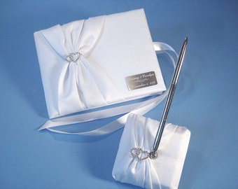 Personalized White Wedding Guest Book and Pen Set with Linked Hearts and Engraving