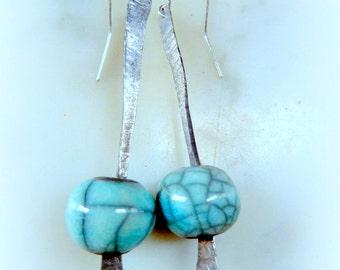 """Earrings """"Raku steel"""" blue-gray"""