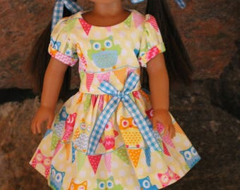 14.5 inch doll clothes - Party Dress - 0wls - Springtime - Fits Wellie Wishers