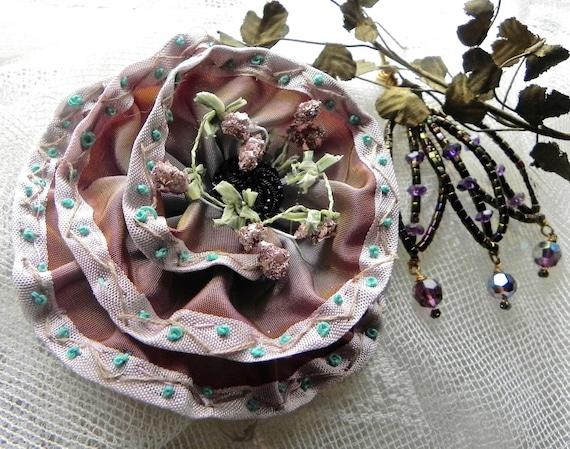 Embroidered Ribbon Rose, Applique'/Corsage, Millinery. Pink German Glitter Stamens, Black Jet Center,  Hair Accessories, Bridal/Wedding