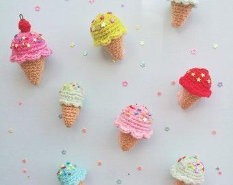 3 Mini Amigurumi Ice Cream with Sprinkles (assorted)