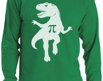 Pi T-Rex Dinosaur Pi Day Gift Funny Long Sleeve T-Shirt