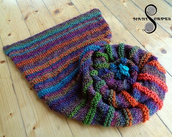 OOAK hand-knitted asymmetric shawl in dark and vibrant RAINBOW mix of soft acrylic yarns
