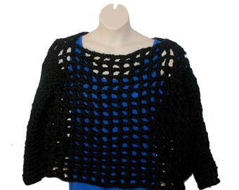 Plus Clothing, Black Sweater, Plus Size Sweater, Chunky Pullover, Womans Top, Bulky Sweater, Crochet Top, Mesh Sweater, Chunky Jumper, 4X