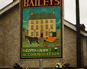 Bailey Sign, Irish Restaurant, Ireland Photography, Textured Print, Horse and Carriage, Wall Art, Fine Art Photo, Wall Decor, 8 x 10 Print