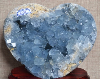 Pure Natural Celestite Geode/Large Raw Celestite Ornament Heart/Pure Natural Celestite Cluster/Large Blue Crystal Geode decoration-2031g