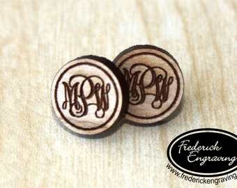 Custom Monogram Earrings - Wooden Studs with Surgical Steel Posts - Personalized - Handmade - EA-2