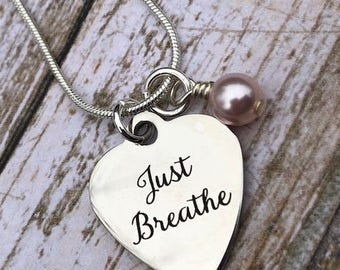 Laser Engraved Heart Personalized Charm Just Breathe Birthstone Necklace
