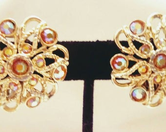 1950s Lg. Goldtone & AB Flower Clip On Earrings