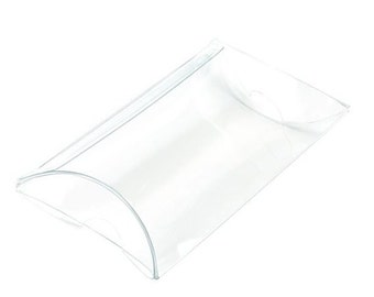 25 Crystal CLEAR Pillow Boxes 2 x 3/4 x 3 Inches, Usable Space 2 x 2 1/4 Inches, Clear Favor Box
