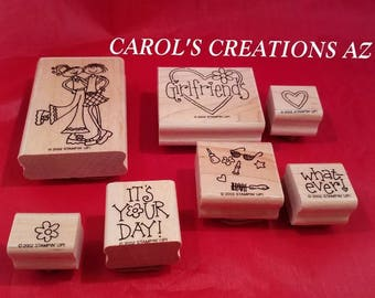 Girlfriends Stampin Up Stamps / Stampin Up Wood Block Stamps / Craft Stamps
