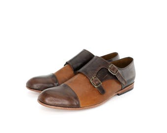 Monk Vagabundo Shoes in Dark Brown and Honey