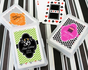 Personalized Birthday Playing Cards/Birthday Party Favors/Deck of Playing Cards/Birthday Favor Ideas (set of 24)