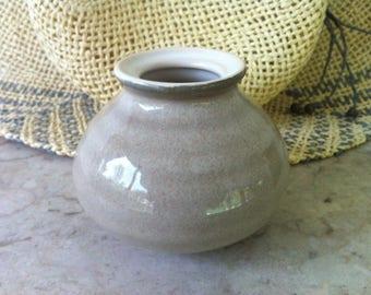 Asian Style Vase, Ringware Type Ridges, Beige Glaze Outside, White Inside, Vintage Art Pottery, Brush Washer Form, FREE SHIPPING