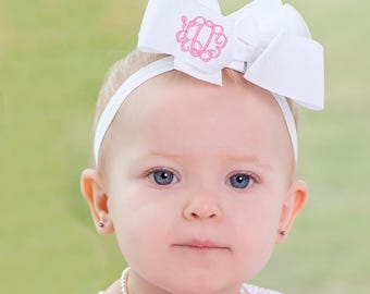 Monogrammed Bow Headband for Baby, Baby Easter Bow, Baby Easter Headband, Baby Easter Hair Bow, Baby Monogrammed Gifts, Easter Baby Outfits