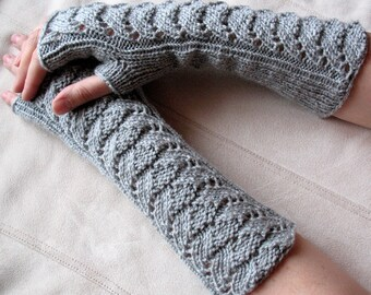 """Long Fingerless Gloves Gray 13"""" Arm Warmers  Mittens Soft Acrylic"""