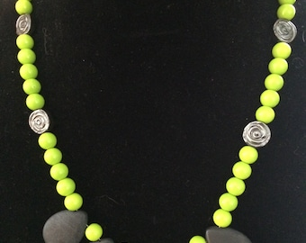 Spring Green and Slate Necklace