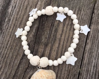 Beach bracelet, shell and coral