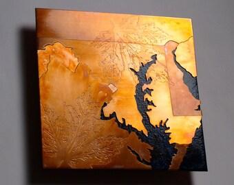 Copper Map Art of Washington DC, copper on deep blue, 8 in