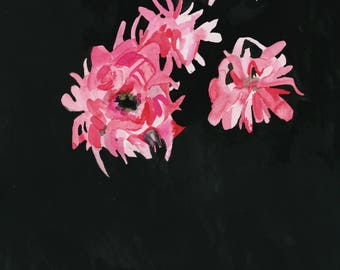 Original watercolor and gouache painting of pink flowers on black background.