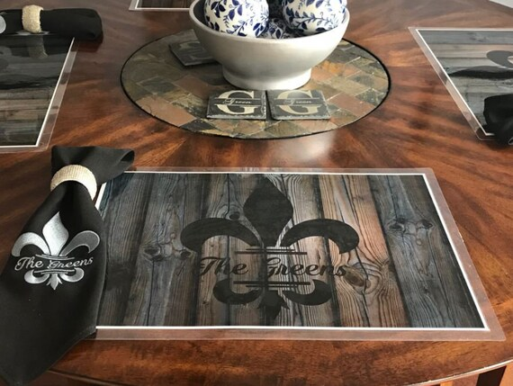 Personalized Wood Look Placemats Custom Place Mats Monogrammed Laminated Placemats Design Your Own Monogram Place Mat Kitchen Decor Dining
