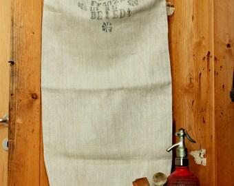 Antique timeworn grainsack floursack printed handloomed  linen faded print  herringbone grainsack tablerunner upholstery project  cushions