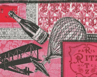Putting on the RITZ, FABRIC POSTCARD, Champagne, Dirigibles, Paris, Quilted Postcard, Mailable Art