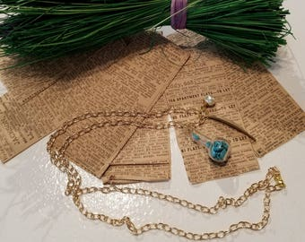 Turquoise in a Bottle Necklace, Gold Leaf, Pearl, Gold Necklace, Turquoise Stone Necklace,  MarjorieMae