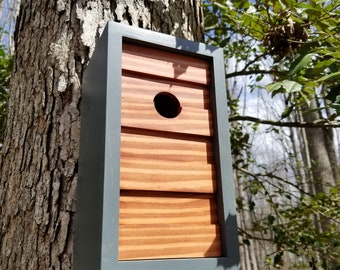 Modern Geometric Birdhouse - Gray with Traditional Cherry Stained Cedar Face