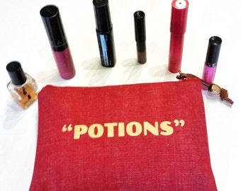 Makeup Bag in Red with Potions Graphic, Makeup Accessories, Makeup Holder, Cosmetics Bag, Beauty Bag, Beauty Accessories