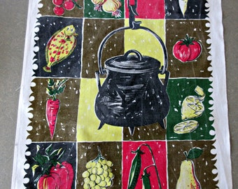 Vintage Tea Towel, Midcentury Graphics, Val de Sevre, Kitchen Towel, Food Graphics, Mod Graphics Tea Towel, Cotton Towel, Retro Kitchen
